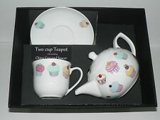 Cupcake 2 cup teapot,cup and saucer gift boxed. cup,saucer teapot boxed