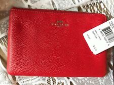NWT COACH Leather Corner Zip Wristlet In Bright Red. Great Price.