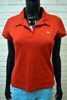 Polo Donna Maglia LACOSTE Taglia 40 Shirt Manica Corta Jersey Frau Elastica
