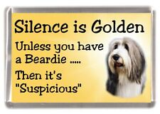 "Bearded Collie (Beardie) Dog Fridge Magnet ""Silence is Golden....."" by Starprint"