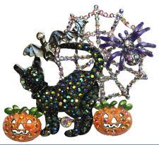 KIRKS FOLLY  HOCUS POCUS BLACK CAT PIN / PENDANT  silvertone