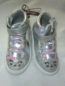 New Girls Size 9 Athletic Critter High Top Bunny Shoes Neon Pink and Silver