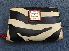 Vintage 1998 Dooney And Bourke Zip Around Zebra With Red Organizer Wallet Med
