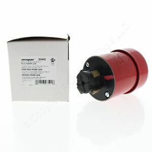 Cooper Red Industrial Grade Armored Powerlock Grounding Plug 30A 480V 3P4W 20445