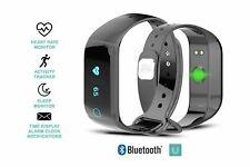 Fitness Tracker Heart Rate Sensor Bluetooth Sleep Monitor Steps Activity Black