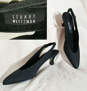 New $225 STUART WEITZMAN Black Slingback Kitten Heel Pumps Heels Peau 8S (slim)