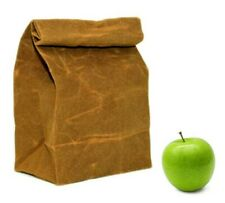 BROWN COTTON LUNCH BAG RETRO VINTAGE STYLE REUSABLE ECO FRIENDLY CANVAS BOX