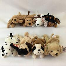 8 Ty Beanie Babies Dog Bernie Bones Butch Doby Dotty Fetch Pugsly Spunky PVC