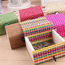 Bamboo Wooden Trinket Box Ring Necklace Earrings Jewelry Storage Small Gift Case