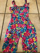 Floral cotton blend singlet bodysuit leotard vintage 80s medium