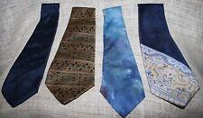 VTG Lot (4) Mens Wide Neck Tie Resilio DiMaro Elegante Cantini Silk Italy Blue