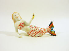 "HEREND, RUST FISHNET MERMAID WITH SHELL 4"", HANDPAINTED PORCELAIN FIGURINE !"