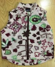 PATAGONIA Full Zip Fleece Vest Baby Toddler Size 6 Months Purple Flower Print
