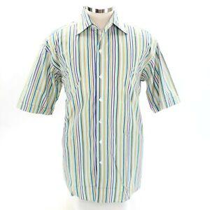 Lorenzini Mens L Button Up Green Blue Orange Short Sleeve Striped Shirt