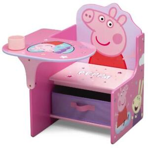 Peppa Kids School Table Desk And Chair with Storage Bin Box Set For Girls Pink