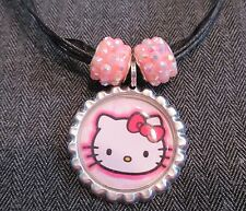HELLO KITTY Cat Black Ribbon Bottle Cap Bling Charm Necklace Pink Beads Face Bow