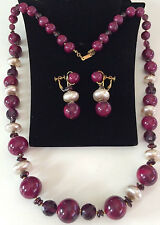 Vintage Miriam Haskell Necklace Earring Set~Bakelite Bead/Pearl/Garnet/Art Glass