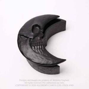 Alchemy Gothic Skull Moon Matte Black Heavy Resin Box - Gothic,Goth