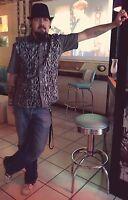 Mens Grey Black Flame Biker 50s lounge diner shirt Psychobilly Retro Rockabilly