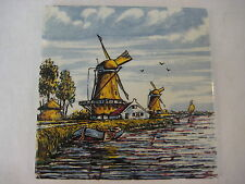"Vtg Delfts Handpainted Made In Holland Windmills Ceramic Tile 5 3/4"" X 5 3/4"""