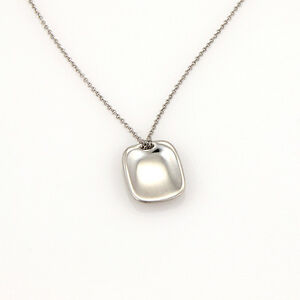 Tiffany & Co. Elsa Peretti Spain Platinum Designer ID Tag Pendant Necklace