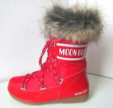 Tecnica Moon Boot MONACO LOW rouge taille 42 moon boots red fausse fourrure synthetique Fake Fur