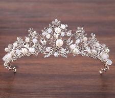 Women Girl Silver Crystal Rhinestone Pearl Party Hair Headband head Crown Tiara
