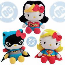 "Hello Kitty x DC Comics 3x Wonder Woman Batgirl & Supergirl Set 6.5"" plush doll"