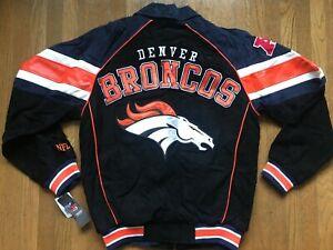 NWT NEW Denver Broncos LEATHER JACKET suede bomber vtg jersey starter hat S M