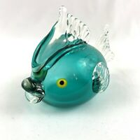 Vintage ICET Arte Murano Art Glass Sculpture Figurine Blue Fish Venezuela 6""