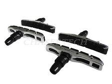 New MTB Bicycle Bike V-Brake Hollow Bracket Cartridge Pads Shoes Silver 2 Pairs