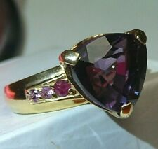 Ring 24k Yellow Gold-Plate Alexandrite (Lab.) Sterling Silver Natural Rubies