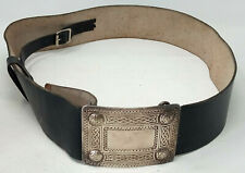 Vintage Celtic Embossed Black Leather Belt & Silver Plated Buckle Scottish