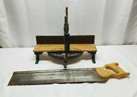 """Vintage Stanley Miter Box & 24"""" Wood Hand Saw No. 39 Woodworking Tool No.60 Lot"""