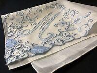 "#6613🌟ELEGANT Vintage 40s Madeira Bridal Blue Monogram ""M"" Wedding Handkerchief"