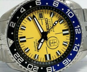 LOVELY PRODIVER YELLOW MODDED SEIKO DIVER 7002-700J AUTOMATIC MEN'S WATCH 9D0596