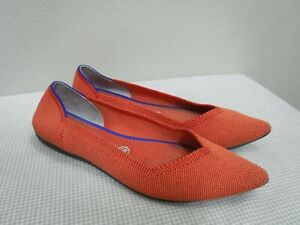 ROTHY'S 10 Orange Stretch Blue Pointed Toe Slip On Ballet Flats Loafers Shoes