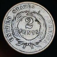 1865 Two Cent Piece 2C Ungraded Good Detail Civil War Date US Copper Coin CC5734
