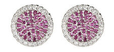 CLIP ON EARRINGS - silver stud earring with pink and clear crystals - Corina