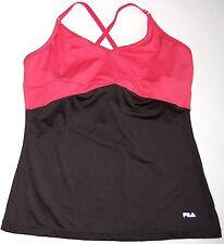 FILA Spaghetti Strap Athletic Top Ladies' M Coral Black Yoga Tennis Run Fitness