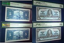 CONSECUTIVE ,  PMG 64  -Bank of Canada 1937  $5 ,Scarce in consecutive