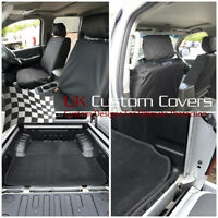 FITS NISSAN NAVARA D40 2005-2015 FRONT SEAT COVERS & TRUNK LINER BLACK 137 250