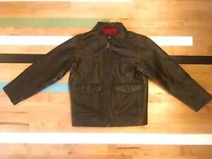 GAP Kids Distressed Brown Leather Jacket Boy's Size Large (10)
