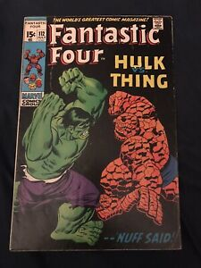 FANTASTIC FOUR #112 (1971) KEY ISSUE: Hulk vs The Thing - Around GD+