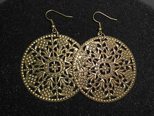 Neu! Edle Ohrringe in Antik Bronze rund filigran Ohrhänger floral Blume