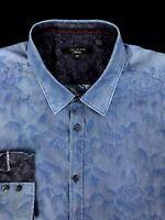 Ted Baker Mens Blue Wild Floral Button Front Slim Fit Shirt 16.5 (Large)