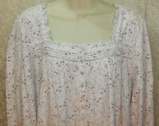 Eileen West 1X Long Cotton Knit Nightgown Long Sleeve Gown White Pink/Mauve New!