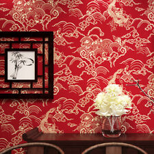 10M Tradition Dragon Chinese Red Waterproof Wallpaper Embossed Textured PVC Roll
