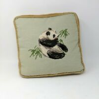 Vintage Handmade Panda Bamboo Needlepoint Throw Pillow Yellow