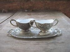Zinc Cream Pitcher & Sugar Bowl(inside is lined with Enamelware) on Zinc Tray..